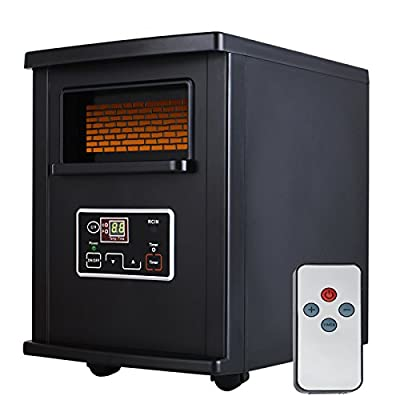 Nurxiovo Portable Electric Infrared Quartz Space Heater with Remote Control Black,1000-Watt