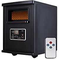 SUNCOO 1000-Watts Infrared Quartz Electric Space Heater with W/Remote Control Portable Black