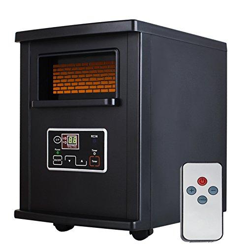 Nurxiovo Portable Electric Infrared Quartz Space Heater with Remote Control Black,1500-Watt Infrared Heaters Nurxiovo