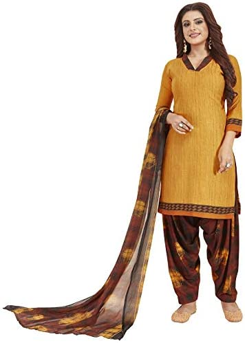 Jevi Prints Women's Unstitched Synthetic Crepe Gold Self Print Wrinkle Free Dress Material (Varsha-2783_Gold_Free Size)