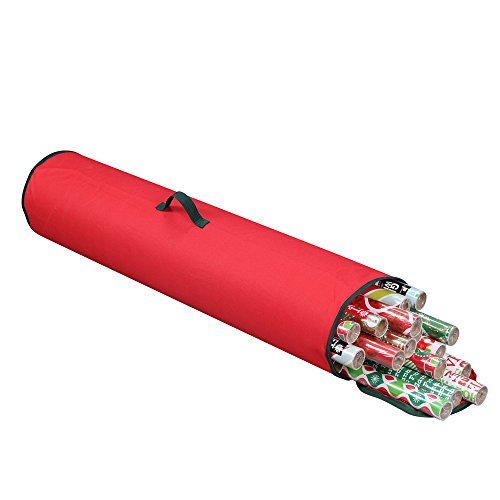 "Primode Gift Wrapping Storage Bag with Handle | Wrapping Paper Tube Bag for Storing Multiple Rolls of Gift Wrap, 40"" Length (Red) by Primode"