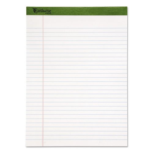 Earthwise 100% Recycled Perforated Pads, Wide/Wide Rule, Letter, White,12/PK, Sold as 12 Each