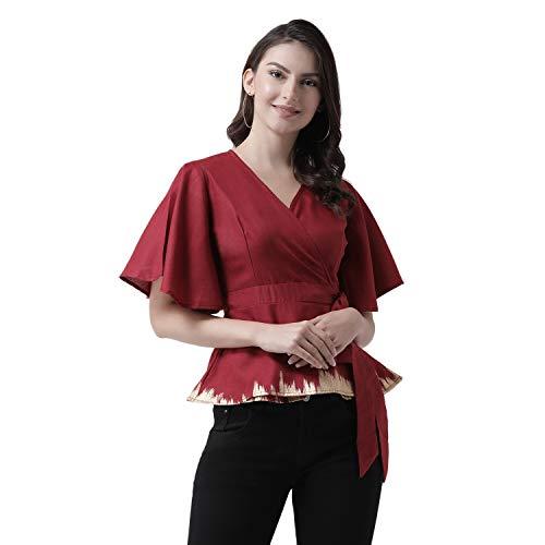 pinwheel Women #39;s Maroon Solid wrap top
