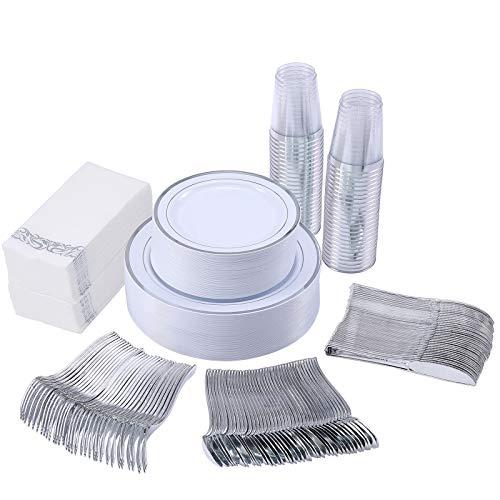 350 Piece Silver Dinnerware Set 50 Guest-100 Silver Rim Plastic Plates-50 Silver Plastic Silverware-50 Silver Plastic…