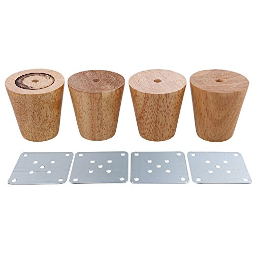 RDEXP Oak Wood Reliable 58x60x38mm Wood Furniture Leg Cone Shaped Wooden Feets for Cabinets Soft Table Set of 4