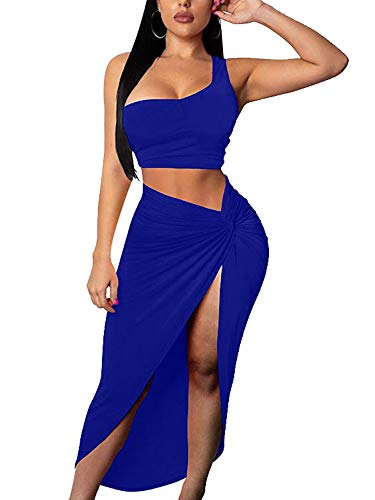 BEAGIMEG Women's Sexy One Shoulder Long Bodycon Slit Skirt 2 Pieces Dress Royal Blue