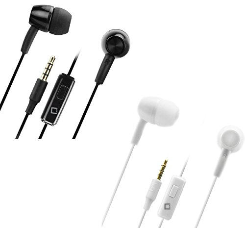 Hands Free Stereo Headset Earbud Two Pack Bundle Black White Compatible with Samsung Galaxy J3 Eclipse Eclipse Hands Free Headset
