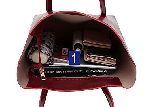 Zainetto A Clutch Borsa Red LUCKYCCDD Portafoglio Borse E Tracolla A BorsettaBorsa Set Borse Tote Pezzi Red Tracolla Donne 4 Handbag Spalla Mano Pochette Set Grande C7nqwf6AUx