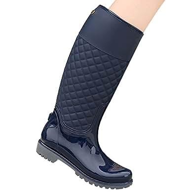 LaoZan Mujeres Botas de Lluvia Impermeable y Cálido para Otoño e invierno - Azul - 35?Largo del pie 21.6 - 22.0 CM)