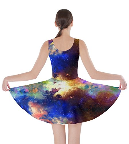 Constellations Stars 5XL Space One Frizzle Moon Mrs Light Planets CowCow XS Womens Starry Dress Skater Night Sky 6xwXWH0Bq