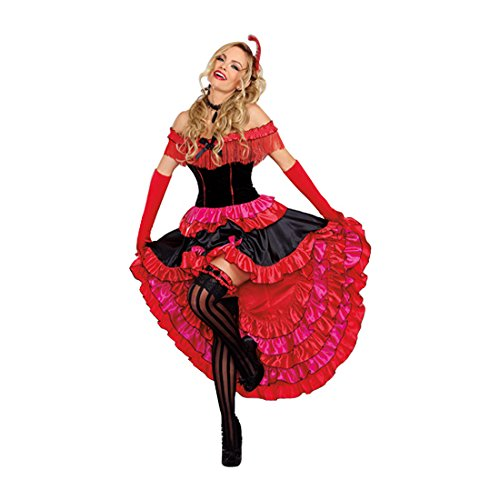 [Dreamgirl Women's Can-Can Cutie Costume, Red/Black, Small] (Moulin Rouge Costumes)