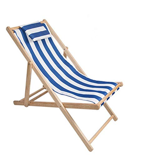HUIFANG Outdoor Beach Chair Folding Solid Wood Oxford Canvas Chair Recliner Chair Portable Lunch Break Wooden Lounge Chair A (Color : 2)