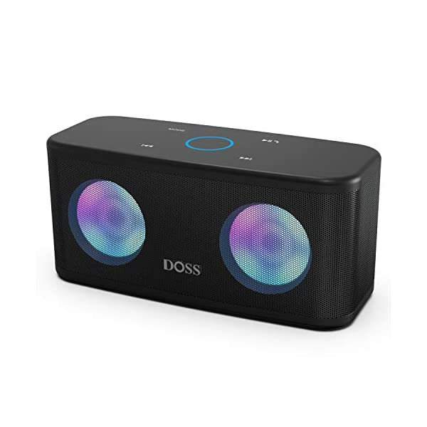 DOSS Bluetooth Enceinte,Haute Parleur sans Fil,Commande Tactile,Son HD et Basses Puissantes,Mains Libres,20 Heures Playtime,Enceintes pour Phone,Tablette et TV,Noir 1