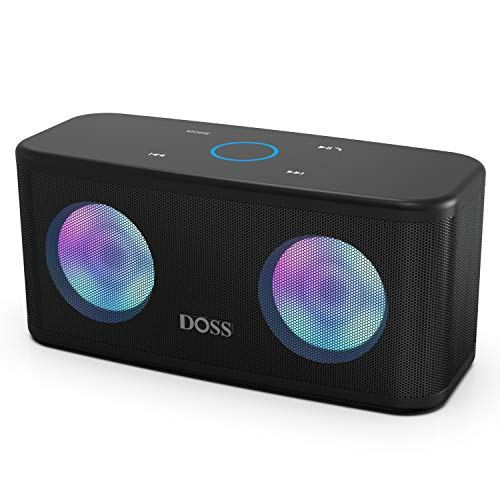 DOSS SoundBox Plus Portable Wireless Bluetooth Speaker with HD Sound and Deep Bass, Wireless Stereo Paring, Built-in Mic, 20H Playtime, Wireless Speaker for Phone, Tablet, TV and More.-Black (Bluetooth Speaker Portable Bass)
