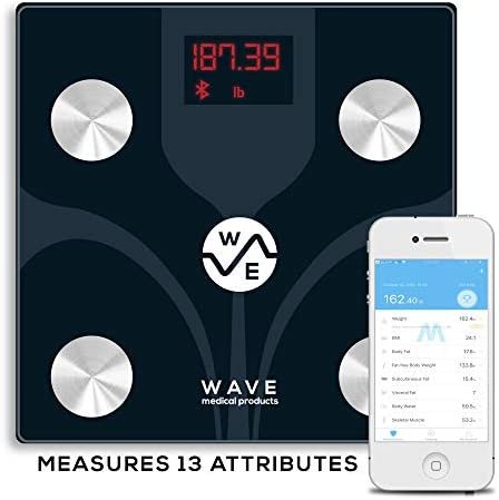 Wave Medical Bluetooth BMI Body Fat Fitness Bathroom Scale w Smartphone App 13 Measurements Smart Digital Body Composition Analyzer