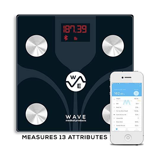 Wave Medical Bluetooth BMI Body Fat Fitness Bathroom Scale w/ Smartphone App (13 Measurements) Smart Digital Body Composition Analyzer (Best Body Measurement App)