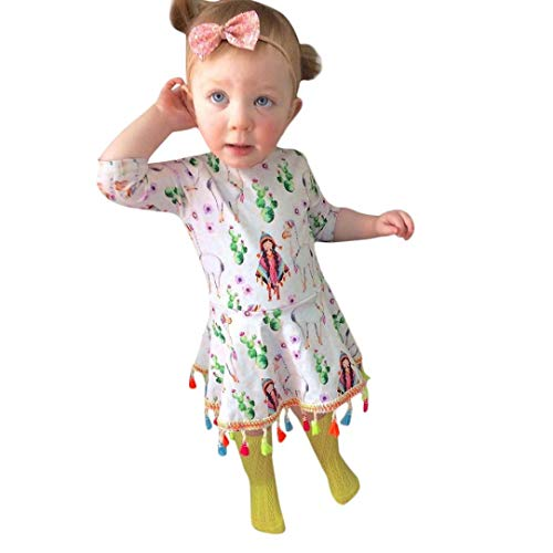 Halloween Outfits Toddler Baby Girls Dress Backless Tassel Cartoon Girls Animal Print Dresses (110, White)