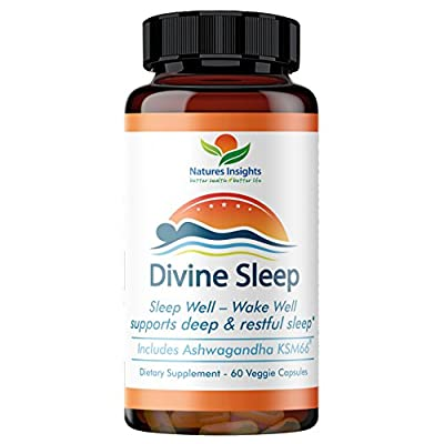 Divine Sleep: Best Natural Sleep Aid. Sleep Well – Wake Well Includes Ashwagandha, Melatonin, Valerian, Magnesium & More To Support A Positive Sleep Cycle - 60 Veggie Caps.