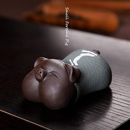 - Creative Money Drawing Pig Tea Pet Chinese Celadon Purple Clay Glazed Good Fortune Home Decoration Tea Accessary Gift