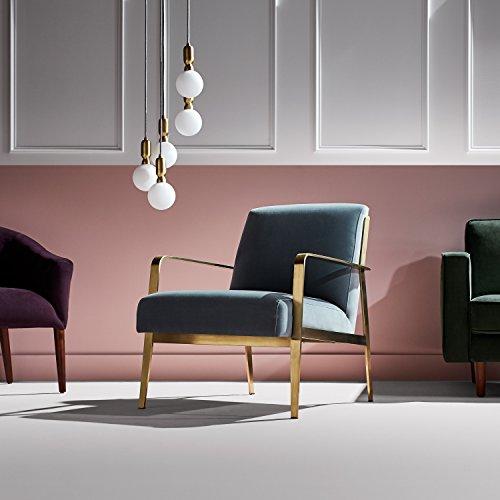 Rivet Clover Modern Glam Velvet Brass Arm Accent Chair 27