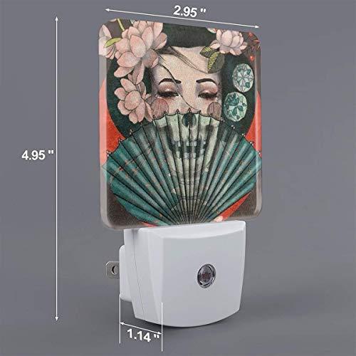 HOKICGR Japanese Geisha Print Plug-in Lamp with Dusk to Dawn Sensor Auto On/Off LED Night Light,Nightlight Perfect for Bedroom, Bathroom, Kitchen, Hallway, Stairs, Daylight White