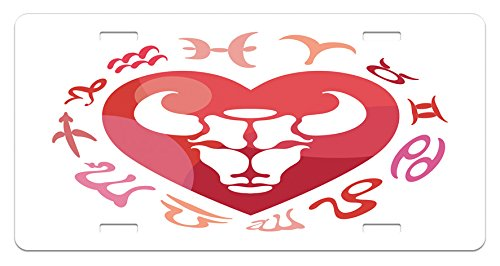 Taurus Zodiac Personality (Taurus License Plate by Lunarable, Zodiac Sign Bull Personality Western Astrology Human Character Mystic Print, High Gloss Aluminum Novelty Plate, 5.88 L X 11.88 W Inches, Dark Coral White)