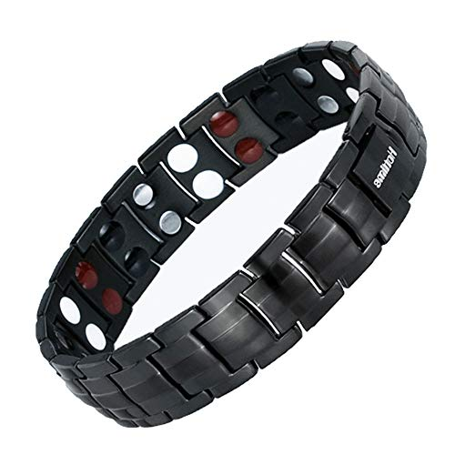 Hxidob Double Row Stainless Steel Magnet Anion and Far Infrared Bracelet Europe and America Titanium Steel Bracelet Men