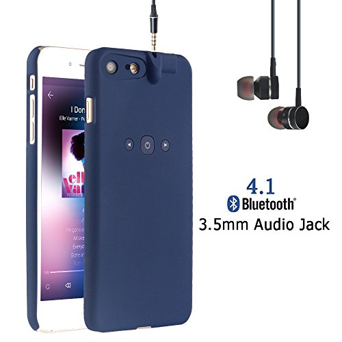 i.VALUX Smart Protective Case for iPhone 7 (Not for iPhone 7 Plus) Bluetooth Phone Case with Bluetooth Built-in 3.5mm Earphone Jack Cover Chargeable iPhone Case (Navy Blue)