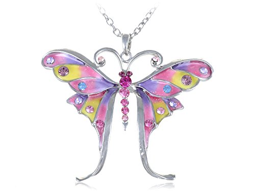 Alilang Womens Silvery Tone Glitter Pastel Spring Colorful Butterfly Pendant Necklace Wholesale Rhinestone Necklaces