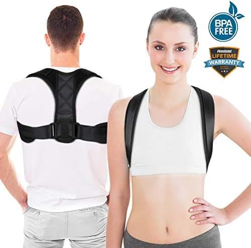Posture Corrector Upper Back Support Brace, Universal Size Posture Belt for Women & Men, Pain Relief from Neck, Back, Shoulder & Bad Posture with Adjustable Breathable Straps