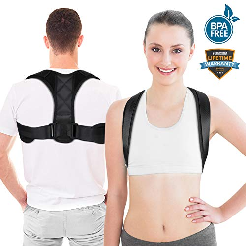 Posture Corrector Upper Back Support Brace, Universal Size Posture Belt for Women & Men, Pain Relief from Neck, Back, Shoulder & Bad Posture with Adjustable Breathable Straps (Black)