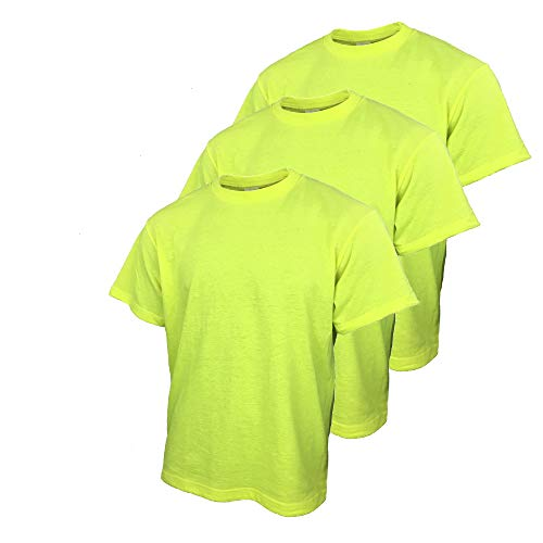 Safety T Shirts for Men with High Visibility Work Shirts (X-Large, Yellow (3pack))