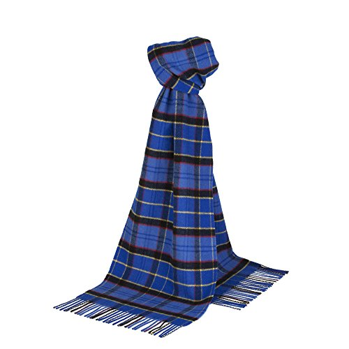 Johnstons of Elgin - Cashmere Mix Scarf WB422 Contemporary Check (US Air Force (Johnstons Cashmere)
