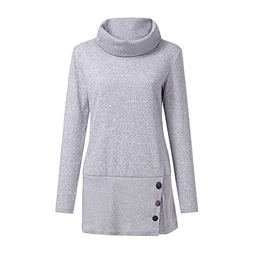 iCJJL Pullover Sweatshirts for Women's Button Cowl Neck Tunic Tops