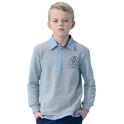 (Leo&Lily Boys' Kids Long Sleeves Embroidery Contrast Polo Shirts (Gray, 6))