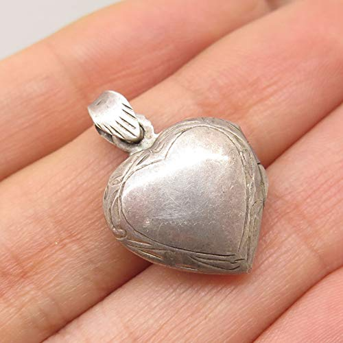 Vintage Signed Sterling Silver Small Heart Love Locket Pendant