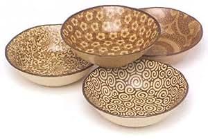 4 Piece Sepia Shallow Bowl Set