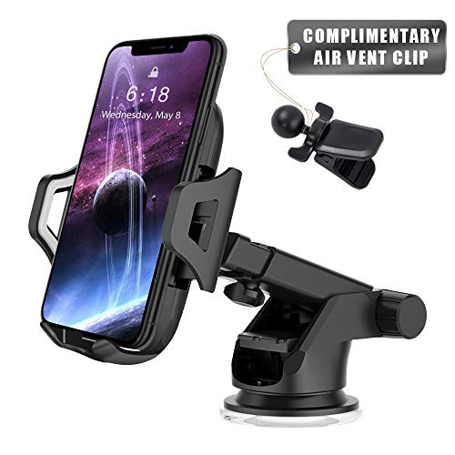 Car Phone Mount Smart Phone Holder for Car 2 in 1 Dashboard Windshield & Air Vent Universal Fit Mobile Phone Cradle with Adjustable Knob One Click Release Button for iPhone Xs MAX XR X Samsung (Black)