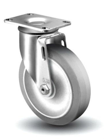 Set of 4 Colson Swivel Plate Casters and 4'' Soft Gray Rubber Wheel Made In USA by Encore / Hi-Tech / Performa