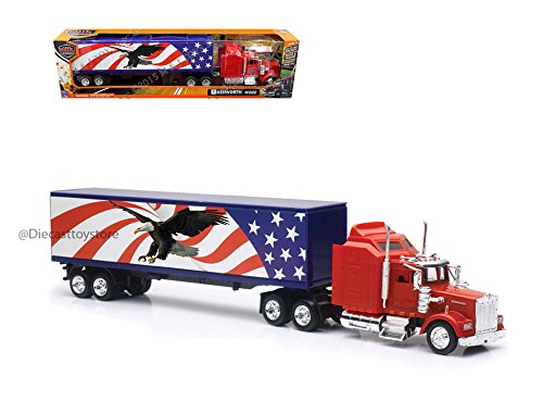 New Ray SS-15333X 1: 43 Trailer Kenworth W900 Patriotic Graphic, Multicolor