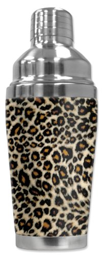 Mugzie 873-SHA Small Leopard Spots Cocktail Shaker with Insulated Wetsuit Cover, 16 oz, Black