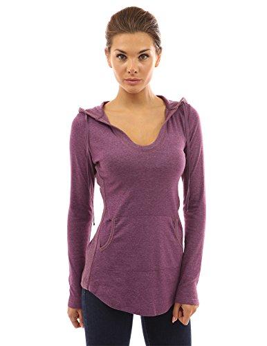 PattyBoutik Women's Hoodie Curve Hem Tunic Top (Heather Purple XL)