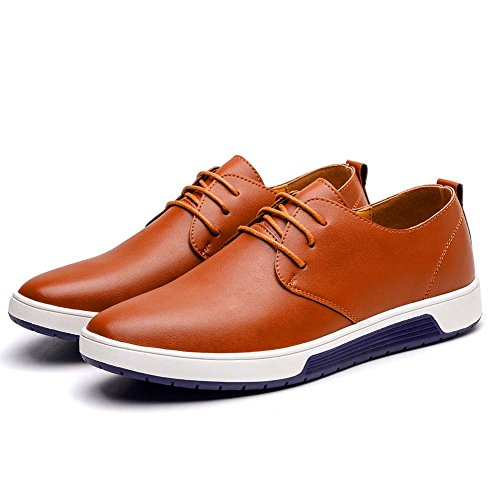 KONHILL Men's Casual Oxford Shoes Breathable Flat Fashion Lace-up Dress Shoes, Brown, 45 by KONHILL (Image #2)