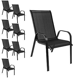 (8unidades, silla de jardín apilable Sillas apilables de jardín estructura de acero, revestimiento de tela negro