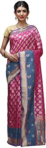 Shloka Women's Synthetic Georgette Banarasi Sari With Blouse (Pink) (MPNS004253) - Banarasi Georgette