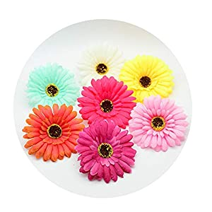 DraFenn 10Cm Silk Gerbera Plastic Flower for Home Decor Fake Stamen A Cap DIY Gift Wreath Artificial Flower 26
