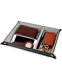 Valet Tray for Storage,PU Leather Jewelry Nightstand Organizer Watch Coin Change Key Tray Box Black