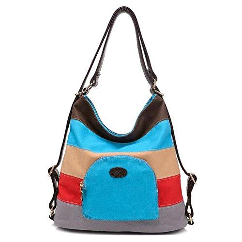 Blue Stitching Houyazhan color Mujer Blue Bolsos Para De Lona 1Zq0S