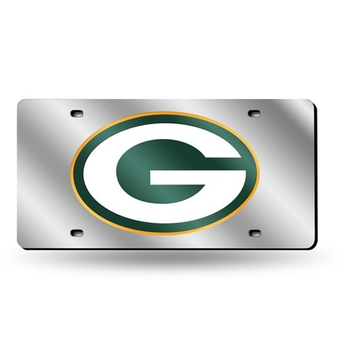 Green Bay Packers Laser-Cut Acrylic Silver License Plate Tag -