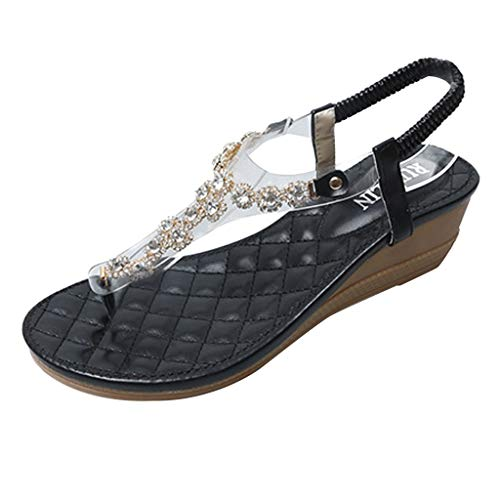 Women's Summer Fashion Outdoor Lightweight Elegant Sandals, MmNote Comfortable Breathable Ankle Strap Thong Flat Sandals Black]()